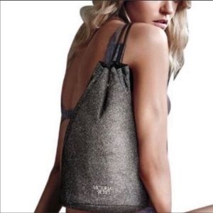 Victoria's Secret Black / Silver Glitter Backpack